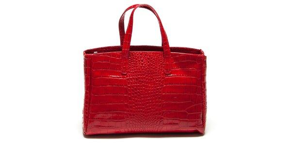 Dámská červená kabelka se vzorem krokodýlí kůže Renata Corsi