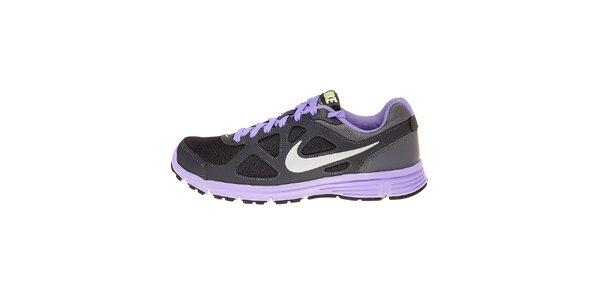 Dámské tmavě šedé běžecké boty Nike Revolution s fialovými detaily