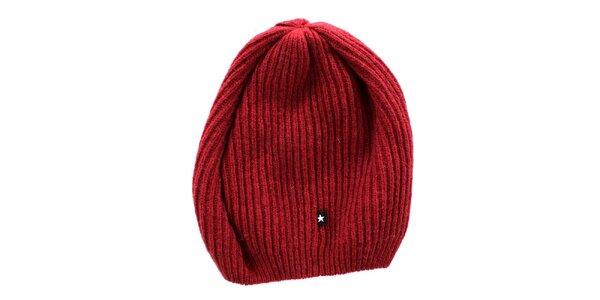 Červená pletená čepice s maličkou hvězdou Big Star