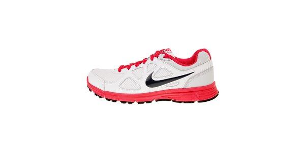 Dámské bílé běžecké boty Nike Revolution s růžovými detaily