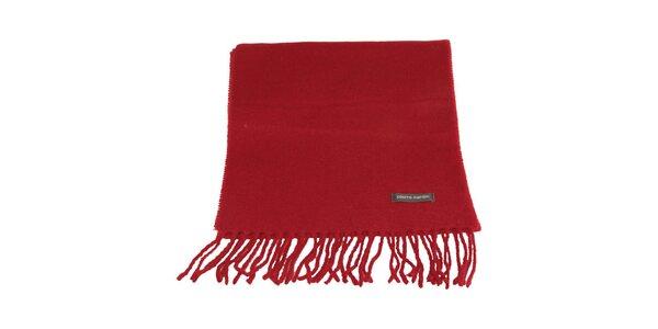 Červená šála s třásněmi Pierre Cardin
