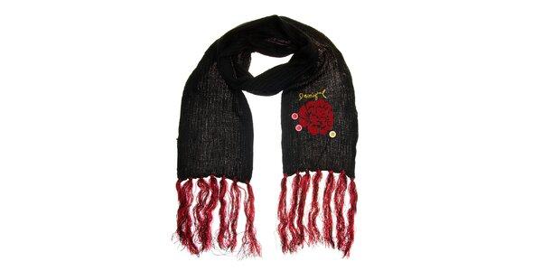 Dámská černá šála s červenými třásněmi Desigual
