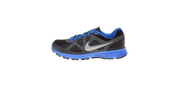 Pánské černé běžecké boty Nike Revolution s modrými detaily