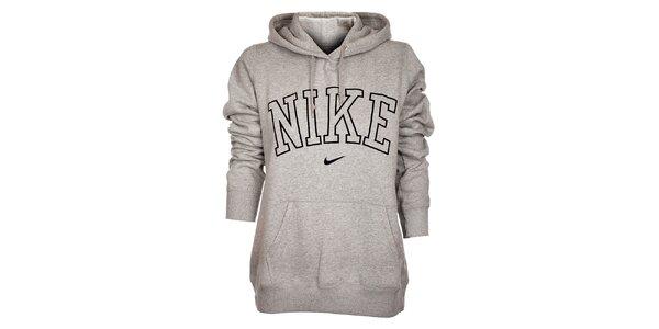 Dámská světle šedá mikina Nike s kapucí a černým logem