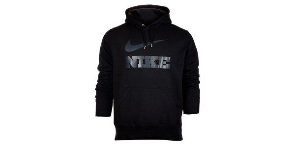 Pánská černá mikina Nike s kapucí a šedivým logem