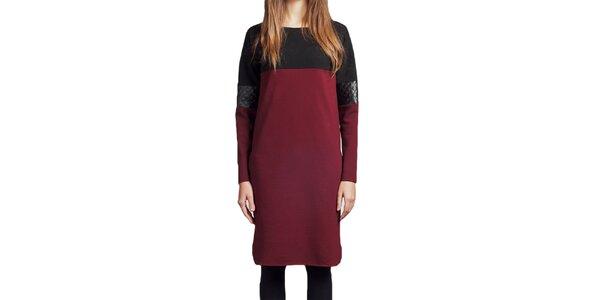 Dámské vínové šaty s černými prvky Lanti