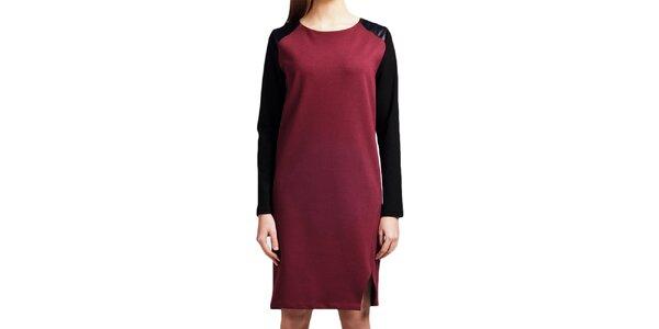 Dámské vínové šaty s černými rukávy Lanti