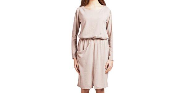 Dámské béžové šaty s dlouhým rukávem Lanti
