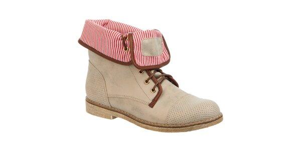 Dámské béžové boty s pruhovaným vnitřkem Betsy