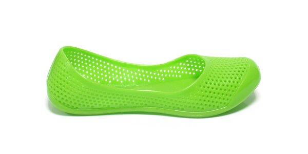 Dámské jasně zelené perforované baleríny Favolla