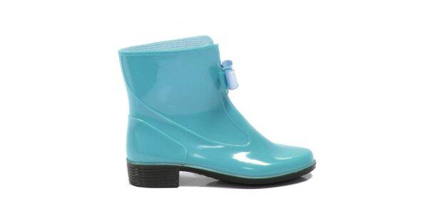 Dámské tyrkysové kotníkové boty Favolla s mašličkou