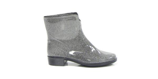 Dámské stříbrné metalické kotníkové boty Favolla