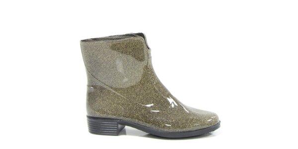 Dámské zlaté metalické kotníkové boty Favolla