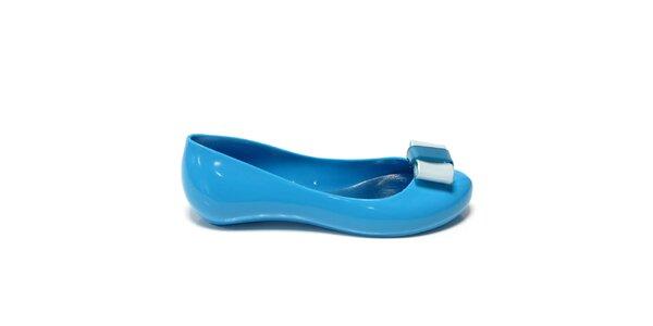 Dámské modré balerínky s modrou mašlí Favolla