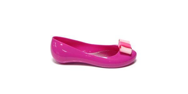 Dámské sytě růžové balerínky s mašlí Favolla