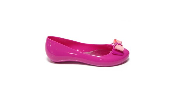 Dámské tmavě růžové baleríny s mašlí Favolla