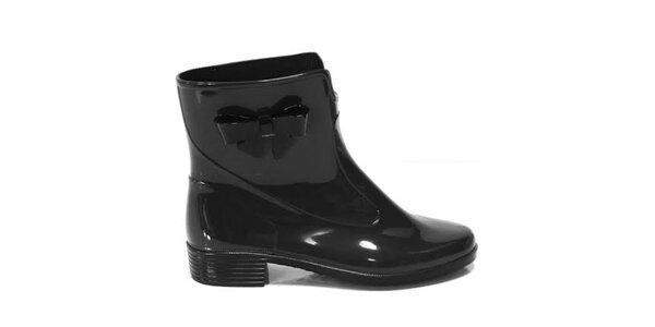Dámské černé kotníkové boty s mašličkou Favolla