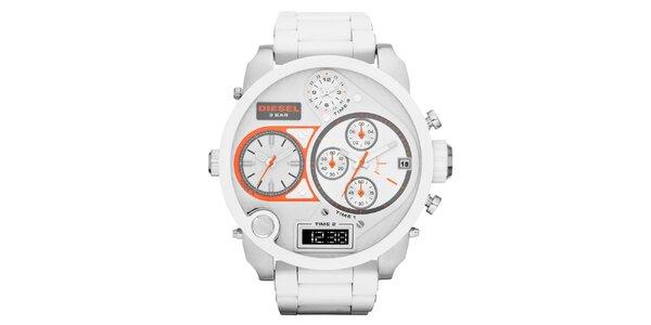 Pánské bílé hodinky Diesel s multifunkčním ciferníkem