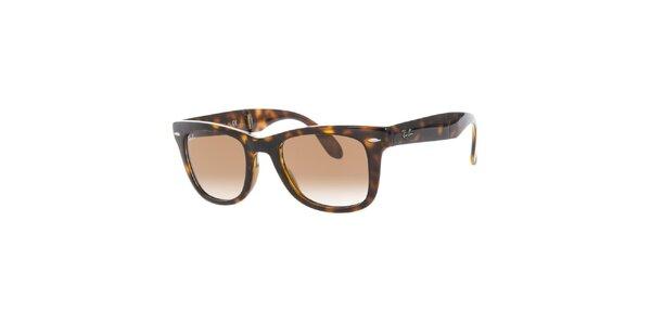Hnědé sluneční brýle se žíháním Ray-Ban
