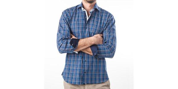 Pánská modrá kostkovaná košile s dlouhým rukávem Lexa Slater
