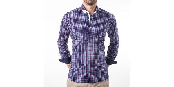 Pánská fialová kostkovaná košile s dlouhým rukávem Lexa Slater