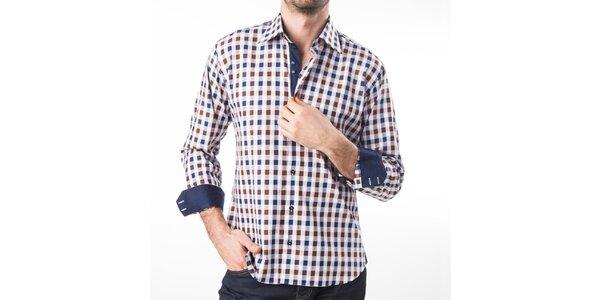 Pánská modro-hnědo-bíle kostkovaná košile Lexa Slater