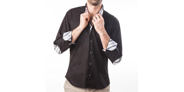 Pánská černá košile s loketními nášivkami Lexa Slater