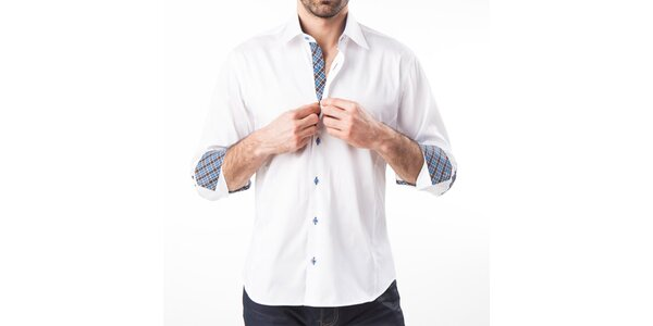 Pánská bílá košile s loketními nášivkami Lexa Slater