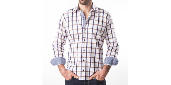 Pánská bílá košile s barevně kostkovaným vzorem Lexa Slater