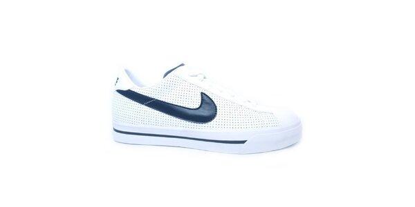 Pánské bílé tenisky s modrým logem Nike