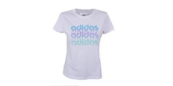 Dámské bílé tričko s barevným potiskem Adidas