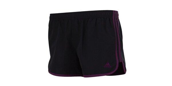 Dámské černé šortky s fialovými prvky Adidas