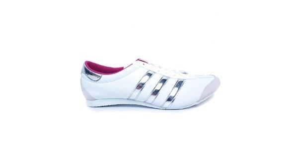 Dámské bílé tenisky se stříbrnými pruhy Adidas