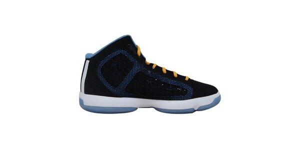 Pánské černé kotníkové tenisky s modrými prvky Adidas