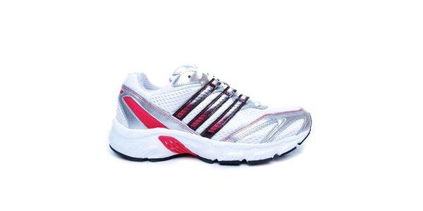 Dámské stříbrno-bílé tenisky Adidas s barevnými pruhy