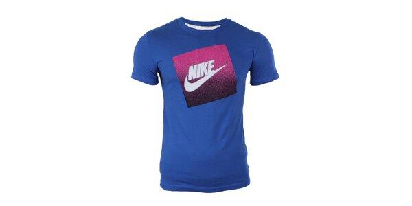 Pánské modré tričko s potiskem na hrudi Nike