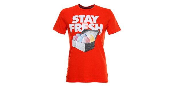 Pánské oranžové tričko s krátkým rukávem a potiskem Nike