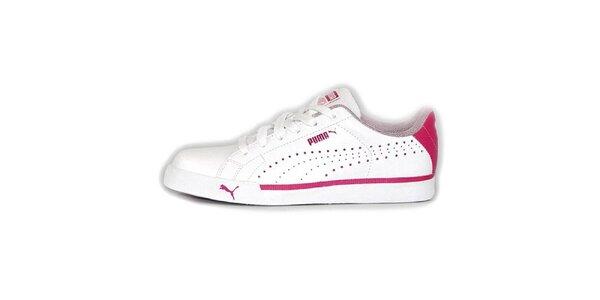Dámské bílé tenisky s růžovými detaily Puma
