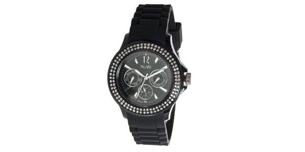 Černé hodinky NuVo se Swarovski Elements