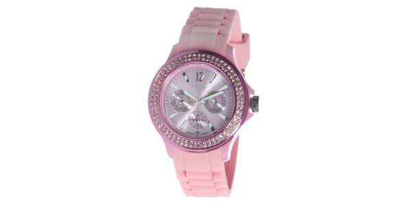 Růžové hodinky NuVo se Swarovski Elements