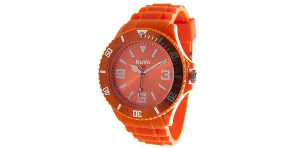 Oranžové analogové hodinky NuVo