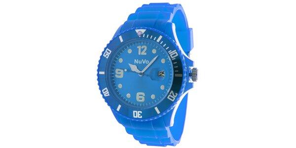 Modré hodinky s datumovkou NuVo