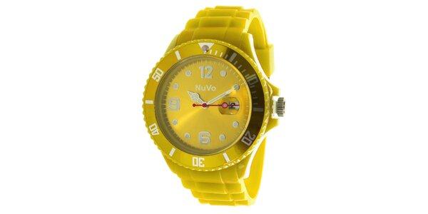 Žluté hodinky s datumovkou NuVo
