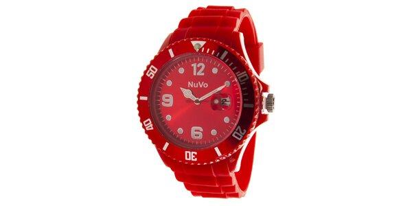 Červené hodinky s datumovkou NuVo