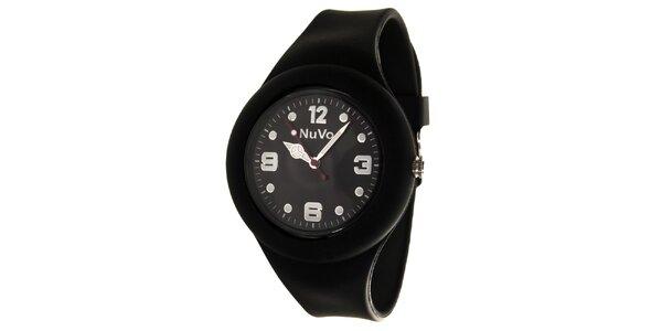 Černé hodinky s hladkým řemínkem NuVo