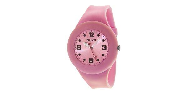 Světle růžové hodinky s hladkým řemínkem NuVo