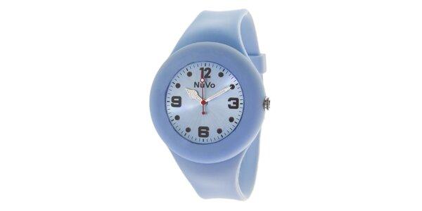 Světle modré hodinky s hladkým řemínkem NuVo