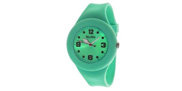 Zelené hodinky s hladkým řemínkem NuVo