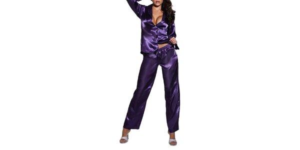 Dámské fialové lesklé pyžamo Besired