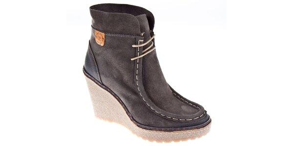Dámské tmavě šedé kotníčkové boty Napapijri na vysokém klínku